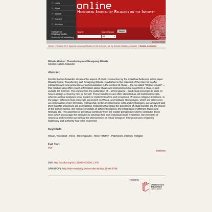 Rituals Online : Transferring and Designing Rituals | Radde-Antweiler | Online - Heidelberg Journal of Religions on the Internet