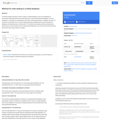 US6285999B1 - Method for node ranking in a linked database - Google Patents