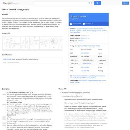 US20100318641A1 - Sensor network management - Google Patents