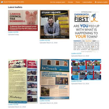 Latest leaflets | ElectionLeaflets.org