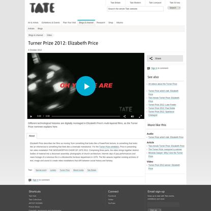 Turner Prize 2012: Elizabeth Price | Tate