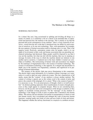 Marshall McLuhan, The Medium is the Message (1964)