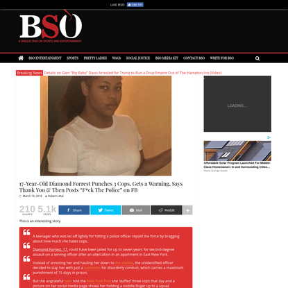 17-Year-Old Diamond Forrest Punches 3 Cops and Then Said Fuck The Police on Facebook   BSO