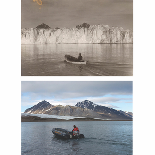 The glacier Blomstrandbreen, Svalbard, Norway has retreated 2 km since 1928, with an accelerated rate of 35 m lost per year since 1960, and higher in the last decade. Colour images by Christian Aslund/Greenpeace - black/white photos Norwegian Polar Instiute. @christianaslund @greenpeace
