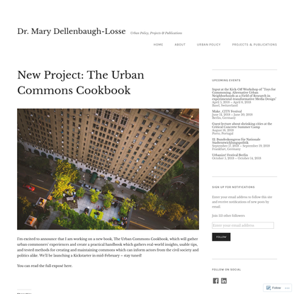 New Project: The Urban Commons Cookbook