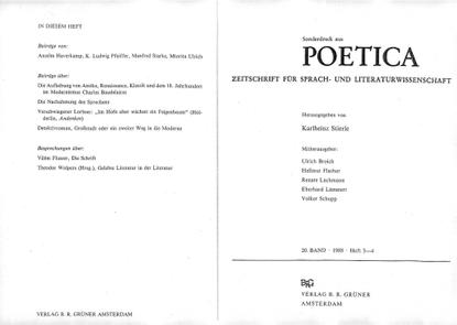 Buchbesprechung / book review Aleida Assmann, in: POETICA 20/1988 (PDF)