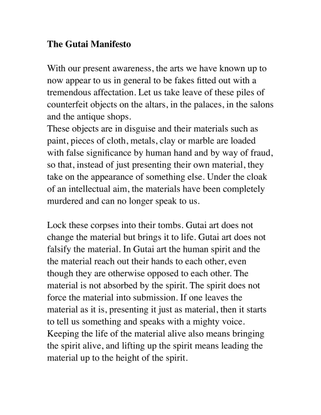 The Gutai Manifesto
