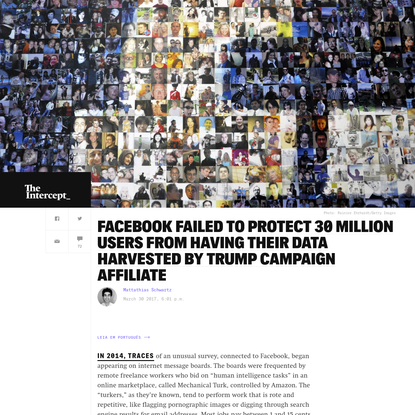 Facebook Failed to Protect 30 Million Users From Having Their Data Harvested by Trump Campaign Affiliate