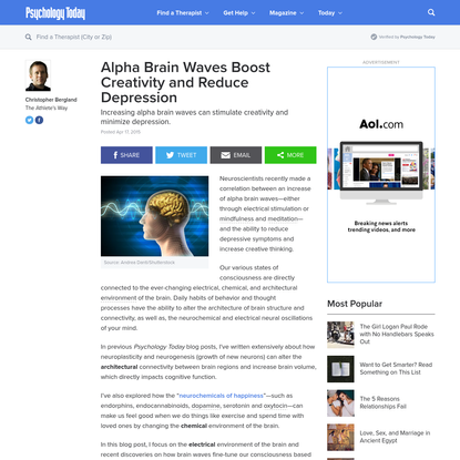 Alpha Brain Waves Boost Creativity and Reduce Depression