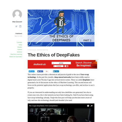 The Ethics of DeepFakes - Alan Zucconi