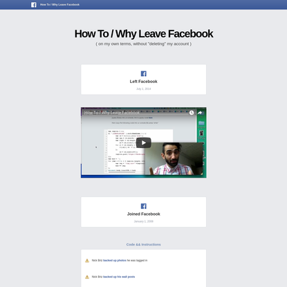 How To / Why Leave Facebook