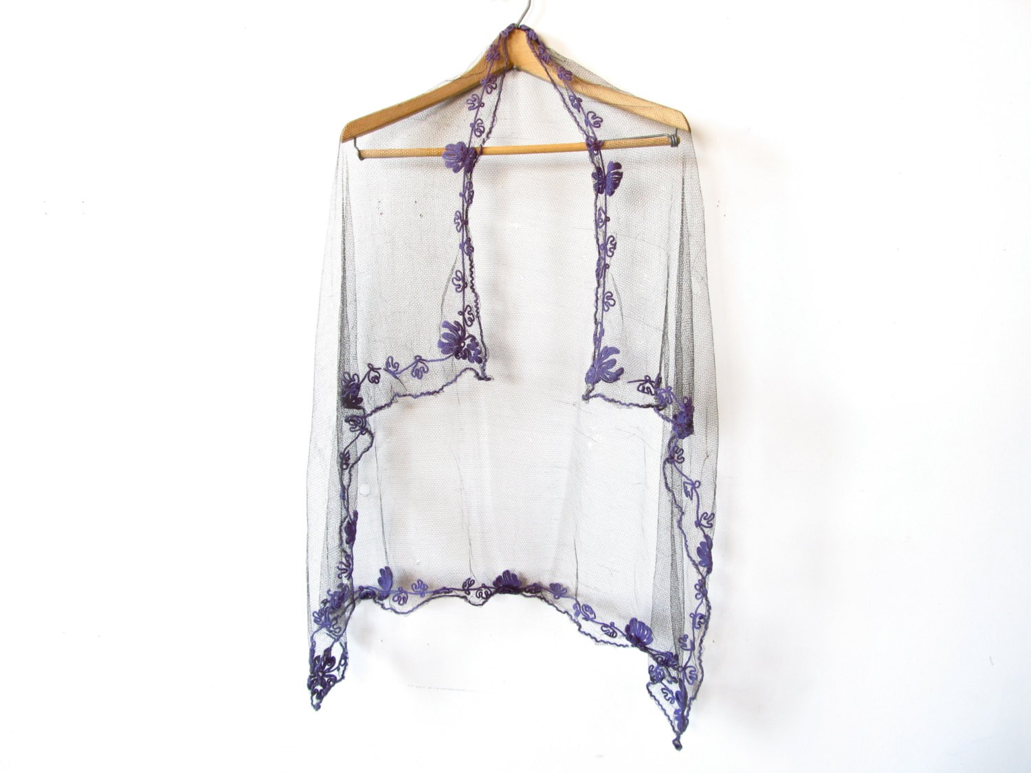 Antique Victorian Black Mesh Shawl with Purple Floral Embroidery - $124.00 USD