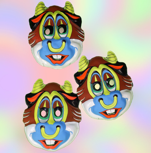 Psychedelic Neon Dime Store Bull Mask *70s 80s* Crazy Creepy Cow Decor or Costume