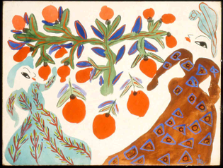 Baya, Femmes et orangers fond blanc, 1947