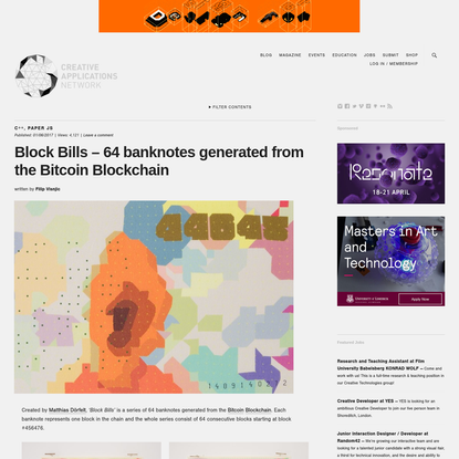 Block Bills - 64 banknotes generated from the Bitcoin Blockchain