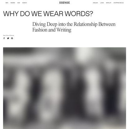 Why Do We Wear Words?