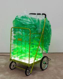 #JoshKline polyethylene terephthalate, granny cart, polyethylene bags, rubber, plexiglas, LEDs, and power source from 2016