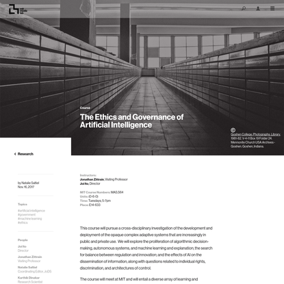 The Ethics and Governance of Artificial Intelligence - MIT Media Lab