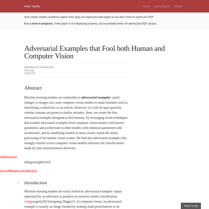 Adversarial Examples that Fool both Human and Computer Vision - Arxiv Vanity
