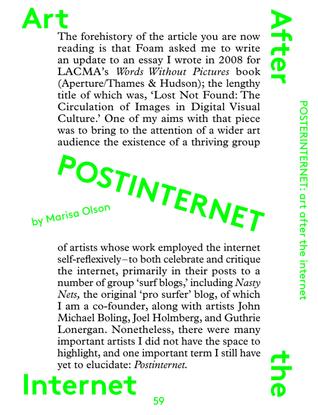 POSTINTERNET: Art After the Internet