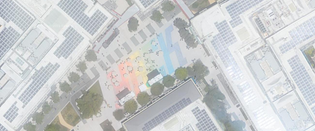 """The courtyard at Facebook says """"HACK"""" in rainbow."""