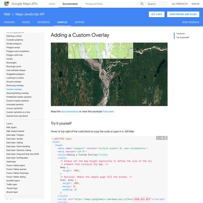 Adding a Custom Overlay | Google Maps JavaScript API | Google Developers