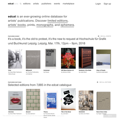 edcat - artists' publication catalogue