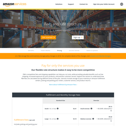 Fulfillment By Amazon (FBA) fees and rate structure - Amazon.com