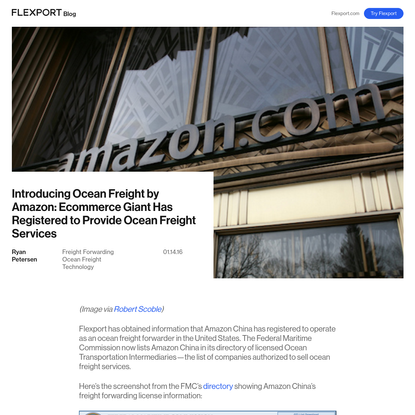 Amazon Has Just Registered to Sell Ocean Freight