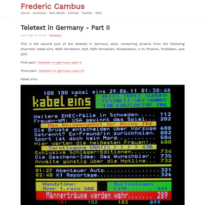 Teletext in Germany - Part II - Cambus.net