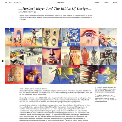 Herbert Bayer and the Ethics of Design - Fictional Journal