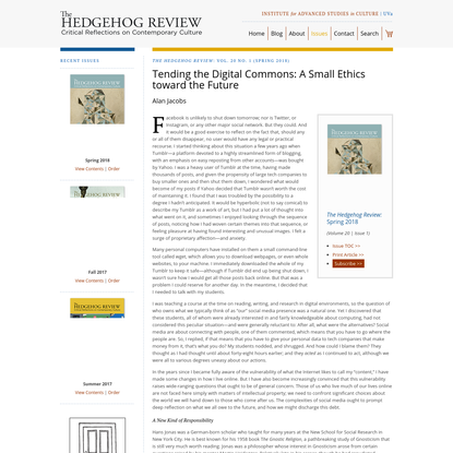 Tending the Digital Commons: A Small Ethics toward the Future