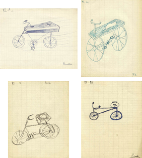 """""""Le Cercueil et Velo"""" (The Coffin and the Bicycle), Jeu de Dessin Communique (Game of Communicated Drawing), 1938"""