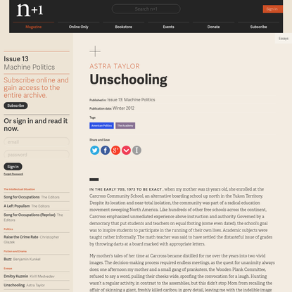 Astra Taylor on Unschooling