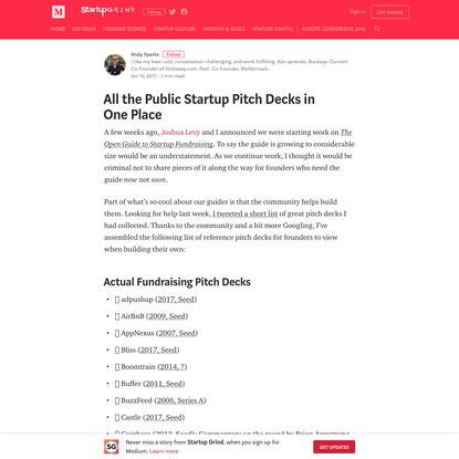 All the Public Startup Pitch Decks in One Place - Startup Grind - Medium