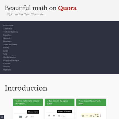 An introduction beautiful math on Quora