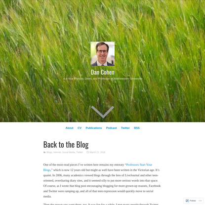 Back to the Blog