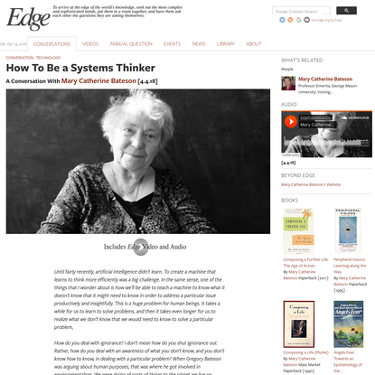 How To Be a Systems Thinker