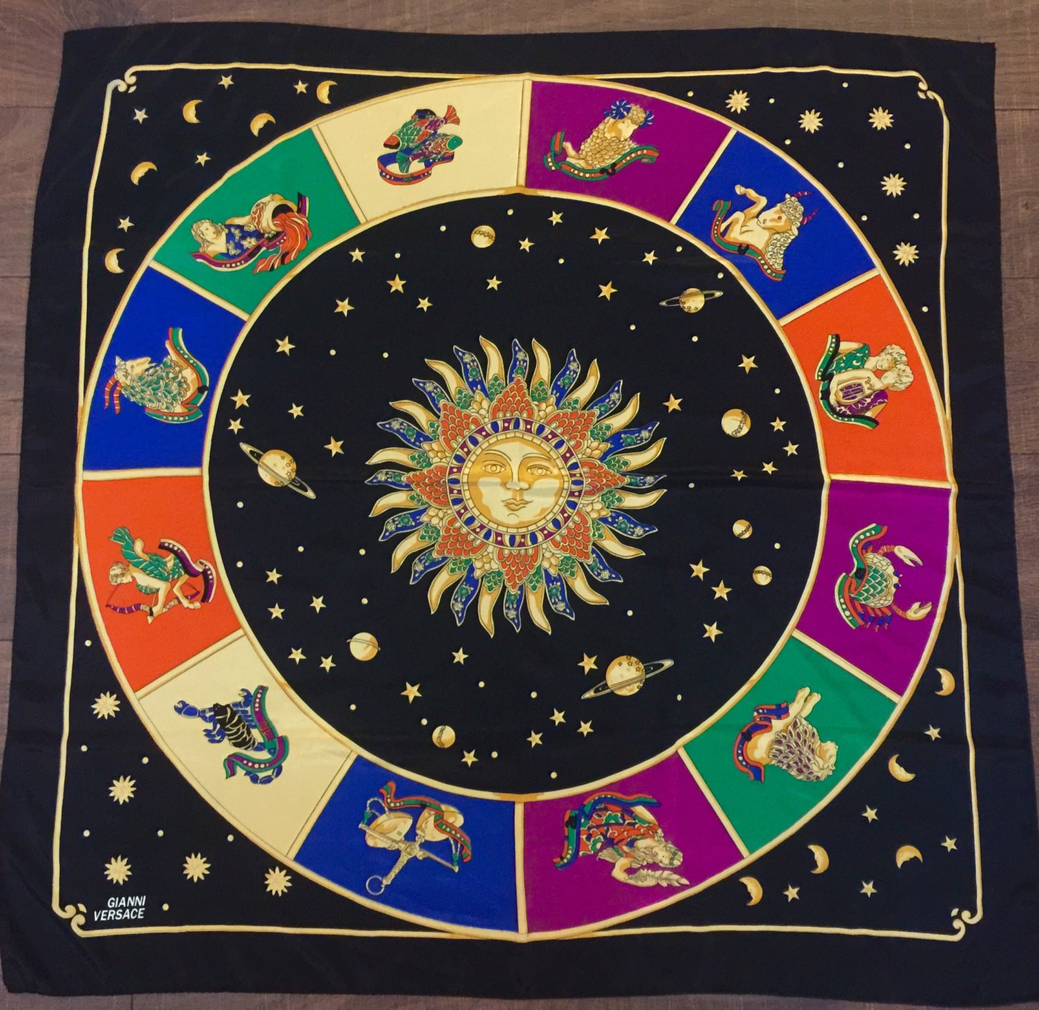 Gianni Versace Black Gold Sun Astrology Silk Scarf Large French