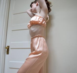 20s 30s Pajama Loungewear Set // Peach Satin and Lace Lingerie // S M