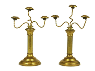 Antique French Miniature Candelabra. Church Candlestick Holders. - $100.00 EUR