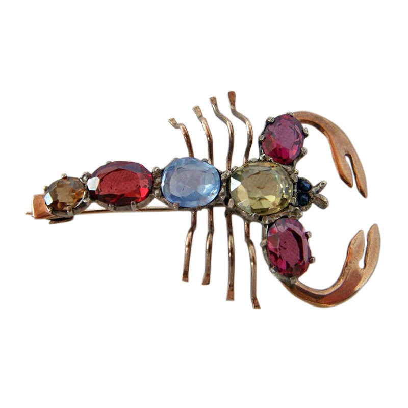 Antique Victorian Novelty Lobster Brooch W Gems, Gold (#4279) - $550.00 USD