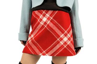 AGNES B Paris Plaid Wool Skirt