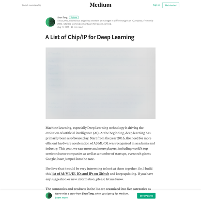 A List of Chip/IP for Deep Learning - Shan Tang - Medium