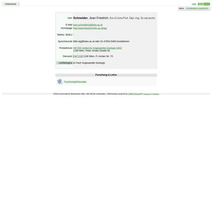 Visitenkarte von Schneider, Jean Friedrich; Em.O.Univ.Prof. Dipl.-Ing. Dr.nat.techn. - BOKUonline - Universität für B...