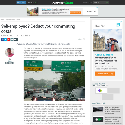 Self-employed? Deduct your commuting costs