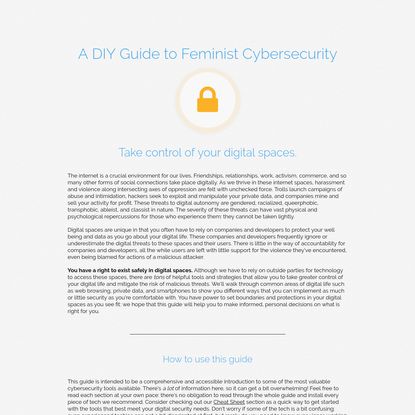 DIY Feminist Cybersecurity
