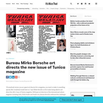 Bureau Mirko Borsche art directs the new issue of Tunica magazine