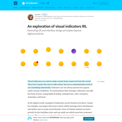 An exploration of visual indicators in real life - UX Collective