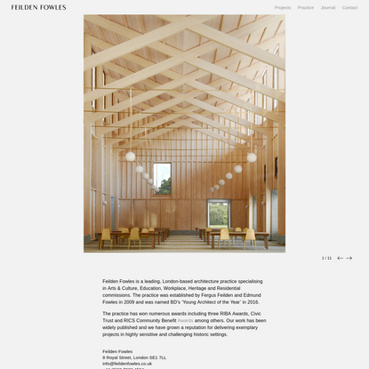 Feilden Fowles. London-based architecture practice. Education, Workplace, Residential